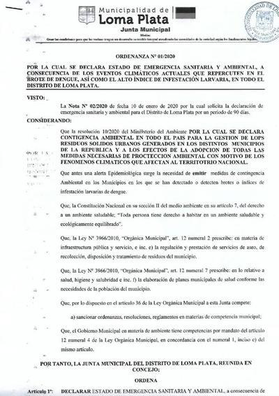 Declaran estado de emergencia ambiental en Loma Plata