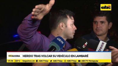 Herido tras volcar su vehículo en Lambaré