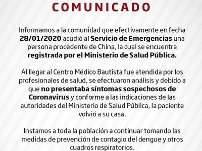 Coronavirus: sanatorio dio un comunicado sobre paciente que vino de China