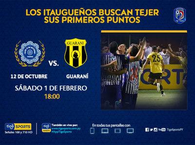 12 de Octubre va por sus primeros puntos contra Guaraní