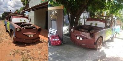 TRANSFORMÓ UNA CAMIONETA EN «MATE»  PARA EL CUMPLE DE SU HIJO