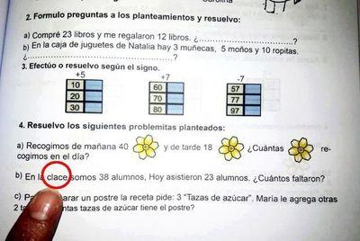 MEC elabora libros de matemática con errores ortográficos y los reparte en escuelas