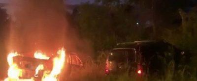 Choque frontal e incendio de vehículo en Areguá