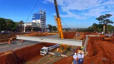 Inicia montaje de vigas de hormigón del Multiviaducto de Ciudad del Este