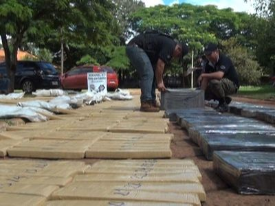 Incautan 321 kilos de marihuana de un inmueble rural