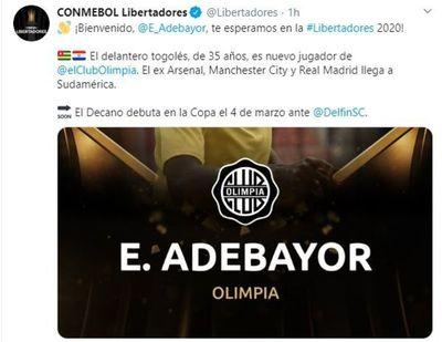 La Libertadores también espera por Adebayor