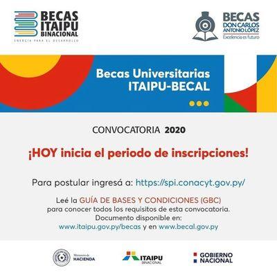 Becas Itaipú-Becal: habilitan plataforma online para postularse