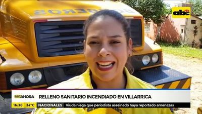 Relleno sanitario incendiado en Villarrica