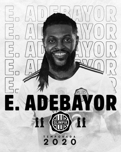Olimpia anunció la contratación de Emmanuel Adebayor como nuevo refuerzo
