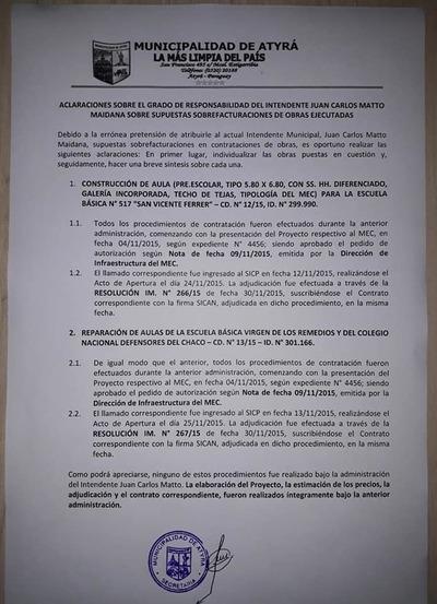 Intendente de Atyrá declara falsas las acusaciones a las cuales fue sometido por ciudadanía