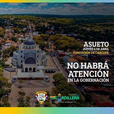Este jueves 4 de abril, no habrá atención en la sede de la Gobernación de Cordillera