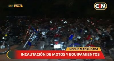 Incautan motos y equipamientos de sonido tras denuncia de carreras clandestinas