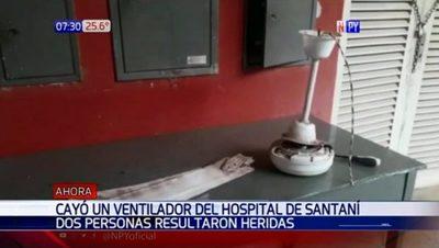 Cae ventilador en Hospital de Santaní y deja dos heridos