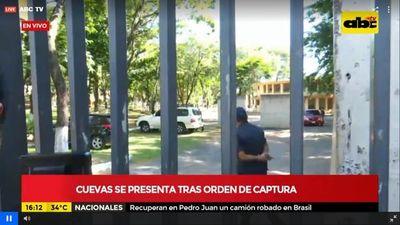 """Cuevas se presentó como """"preso vip"""" para cumplir prisión en la Agrupación"""