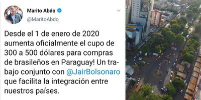 DESDE EL 1 DE ENERO DEL 2020, AUMENTA EL CUPO DE COMPRAS PARA TURISTAS BRASILEÑOS.