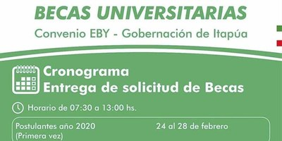 REQUISITOS PARA ACCEDER A BECAS CONVENIO GOBERNACIÓN DE ITAPÚA – EBY AÑO 2020