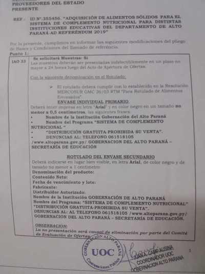 Denuncian trampas en licitación de meriendas en la gobernación de Alto Paraná