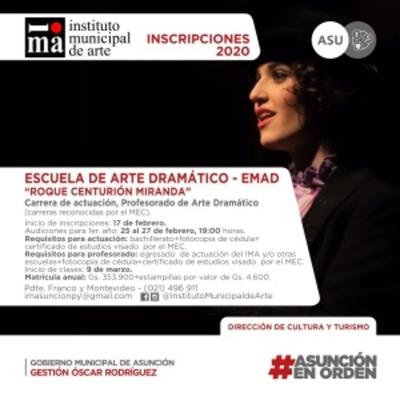 Habilitan audiciones en la Escuela Municipal de Asunción para ingreso a carrera profesional de actuación