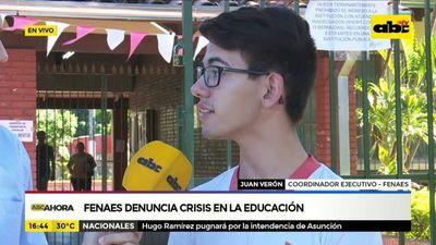 Fenaes denuncia crisis en la educación