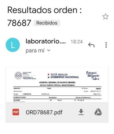 Implementan en cuatro hospitales la entrega de resultados laboratoriales vía e-mail