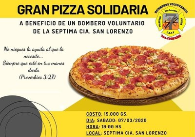 Pizza Solidaria a favor de un bombero voluntario