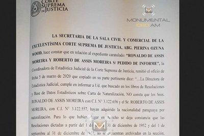Corte confirma que no existe un pedido de naturalización para Ronaldinho