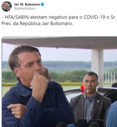 Bolsonaro desmiente tener coronavirus