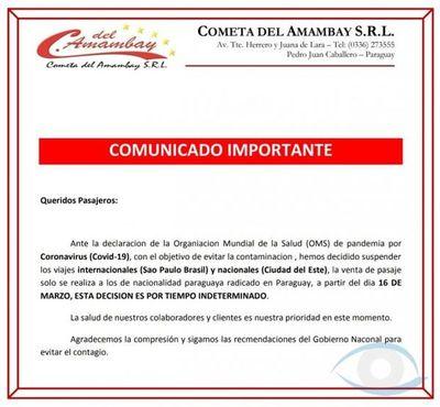Luego de ser multado por burlar control migratorio, empresa Cometa del Amambay lanza comunicado