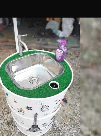 Con unos tambores tuja ojapo lavamanos purete