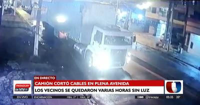 Camiones de gran altura cortaron cables tras su paso por la avenida Cacique Lambaré