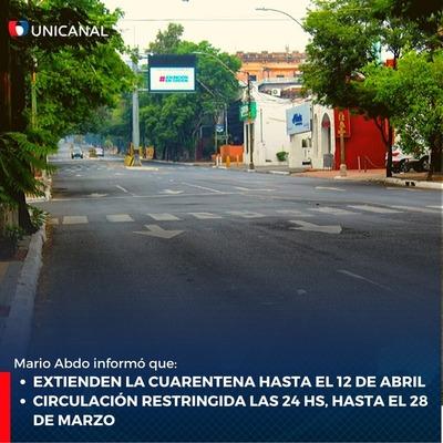 Cuarentena se extiende hasta después de Semana Santa y restricción será de 24 horas