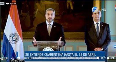 Abdo Benítez aumenta cuarentena hasta el 12 de abril