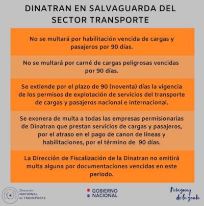 Dinatran no multará por habilitaciones vencidas durante 90 días para apoyar al sector del transporte y asegurar servicio