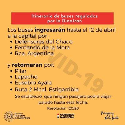 DINATRAN anuncia nuevo itinerario de buses hasta el 12 de abril
