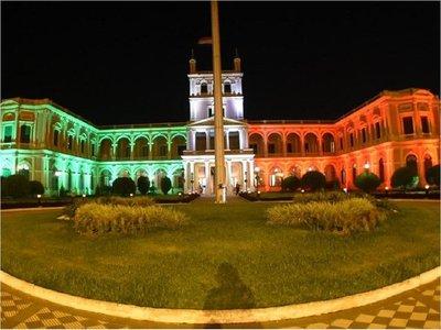 Solidaridad con Italia: El Palacio de López luce los colores de su bandera