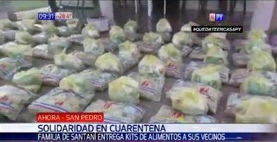 Familia reparte su producción a afectados por cuarentena