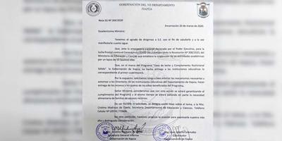 GOBERNADOR SOLICITA PETTA LA DISTRIBUCIÓN DE LECHE Y SUPLEMENTO NUTRICIONAL DE LAS ESCUELAS