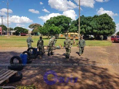 Militares cierran frontera en Pedro Juan con alambre  de púas
