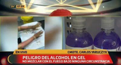 Instan a uso racional de alcohol en gel ante peligro de sufrir quemaduras