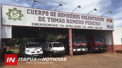 BOMBEROS DE TOMÁS ROMERO PEREIRA RECIBEN DONACIONES PARA FAMILIAS HUMILDES.