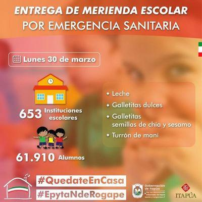 ITAPÚA: ENTREGA DE LA  MERIENDA ESCOLAR ESTE LUNES 30 EN CADA INSTITUCIÓN EDUCATIVA.