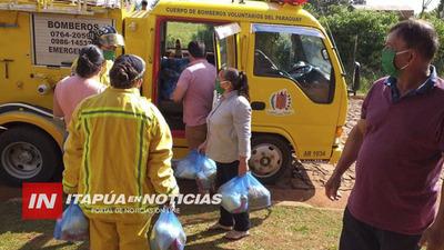 BOMBEROS DE MARIA AUXILIADORA LLEGAN CON VÍVERES A FAMILIAS HUMILDES.