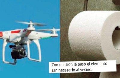 Usó dron para llevarle papel higiénico a socio