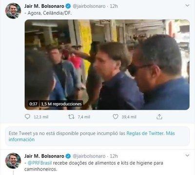 Twitter eliminó mensajes de Jair Bolsonaro contra el aislamiento