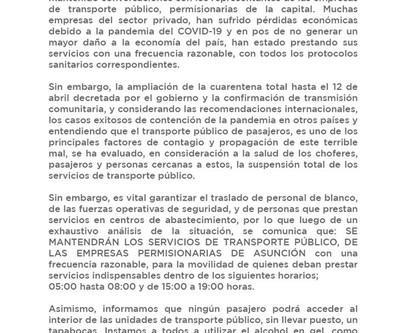 Asunción: buses circularán en horario restringido y pasajeros deberán usar tapabocas