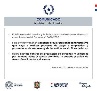 Personal administrativo podrá circular hasta mañana y nadie sale de Asunción o viceversa durante semana santa