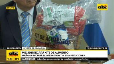 MEC entregará kits de alimentos