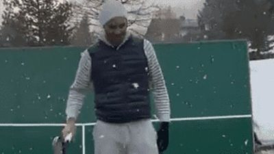 Roger Federer y el entrenamiento bajo la nieve