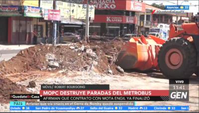 HOY / El MOPC procede a la demolición de las paradas del Metrobús sobre la Ruta Mariscal Estigarribia