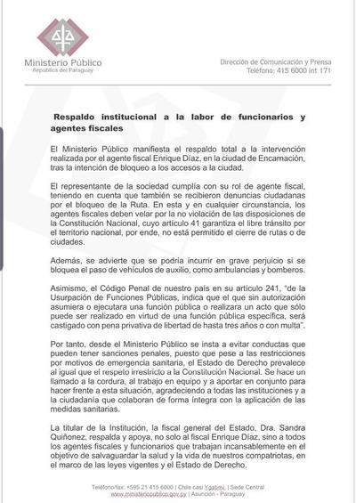 Ministerio Público expresa total respaldo institucional a labores de funcionarios y agentes fiscales